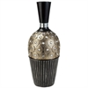 "16.25""H Traditional Black And Gold Decorative Vase"