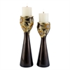 Ore International 14''/16''H Golden Demeter Candleholder Set, Set of 2