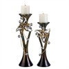 "Ore International 15""/18""H Florria Candleholder Set Without Candles, Set of 2"