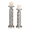 "Ore International 14"" / 16""H Silver Dazzle Candleholder Set, Set of 2"
