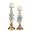 "14"" / 16""H Gold Mahla Candleholder Set, Set of 2"