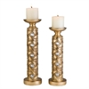 "Ore International 14"" / 16"" H Gold Mahla Candleholder Set, Set of 2"
