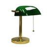 "12.5""H Green Bankers Table Lamp"
