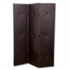 Ore International 3-Panel Black Pu Leather Room Divider
