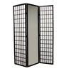 3-Panel Black Finish Mirror Room Divider