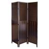 Ore International Shutter Door 3-Panel Room Divider - Espresso