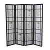 Ore International 4 Panel Shoji Screen - Black