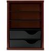 "Vertical Paper Manager - 3 Compartment(s) - 2 Drawer(s) - 19.7"" Height x 14.9"" Width x 10.9"" Depth - Desktop - Recycled - Mahogany - Wood - 1Each"