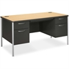 """HON Mentor Double Pedestal Desk - Rectangle Top - 30"""" Table Top Length x 60"""" Table Top Width - 29.50"""" Height - Assembly Required - Natural Maple"""