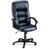 Lorell Tufted Leather Executive High-Back Chair - Leather Black Seat - Black Frame - 5-star Base - Black