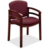 "HON Invitation 2112 Double Rail Arm Chair - Polyester Wild Rose, Nylon Seat - Wood Mahogany Frame - Four-legged Base - 20"" Seat Width x 17"" Seat Depth - 23.5"" Width x 22"" Depth x 33.1"" Height"