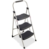 "Three Step Stool - 3 Step - 225 lb Load Capacity - 25.6"" x 18.5"" x 42.9"" - Silver, Black"