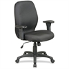 "Lorell High Performance Ergonomic Chair With Arms - Black Seat - 27.3"" Width x 25.5"" Depth x 41.5"" Height"