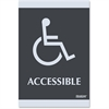 """U.S. Stamp & Sign Century Handicap Accessible Sign - 1 Each - Accessible Print/Message - 6"""" Width x 9"""" Height - Silver Print/Message Color - Self-adhesive - Plastic - Black"""