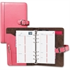 "Day-Timer Breast Cancer Awareness Leather Starter Set - 1"" Binder Capacity - 3 3/4"" x 6 3/4"" Sheet Size - 7 x Ring Fastener(s) - Leather - Pink - 1 Each"