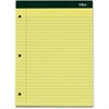 "TOPS Double Docket Writing Pad - 100 Sheets - Printed - Double Stitched - 16 lb Basis Weight - Letter 8.50"" x 11"" - Canary, Canary Paper - 3 / Pack"