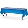 "Genuine Joe Rectangular Table Cover - 108"" x 54"" - 6 / Pack - Plastic - Blue"