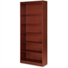 "Lorell Six Shelf Panel Bookcase - 36"" x 12"" x 84"" - 6 Shelve(s) - Material: Veneer, Wood - Finish: Cherry"