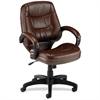 "Lorell Westlake Series Mid Back Management Chair - Leather Brown Seat - Polyurethane Black Frame - Brown - 26.5"" Width x 28.5"" Depth x 43"" Height"