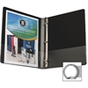 "Business Source Round Ring Binder - 1/2"" Binder Capacity - Round Ring Fastener - Vinyl - Black - 1 Each"