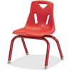 "Berries Powder-ctd Leg Color 14"" Plastic Chair - Steel Frame - Red - Plastic, Polypropylene - 15.5"" Width x 15.5"" Depth x 22"" Height"