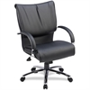 "Lorell Mid-Back Dacron-Filled Cushion Management Chair - Leather Black Seat - 5-star Base - Black - 27"" Width x 27"" Depth x 42.5"" Height"
