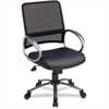 "Lorell Mid Back Task Chair - Leather Black Seat - 5-star Base - Black - 25"" Width x 25"" Depth x 42"" Height"