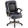 "Lorell Mid-Back Management Chair - Leather Black Seat - 5-star Base - Black - 27"" Width x 32.5"" Depth x 43.5"" Height"
