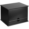 "Victor Midnight Black Desktop Organizer - 4 Compartment(s) - 1 Drawer(s) - 14"" Height x 10.8"" Width x 9.8"" Depth - Desktop - Black - Wood, Rubber, Faux Leather - 1Each"