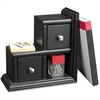 Victor Midnight Black Reversible Bookend - 2 Drawer(s) - Desktop - Black - Wood, Metal - 1Each
