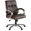 "Lorell Managerial Chair - Leather Brown Seat - 5-star Base - Brown - 19.50"" Seat Width x 20.50"" Seat Depth - 32"" Width x 27"" Depth x 41"" Height"