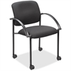 "Lorell Guest Chair with Arms - Black Seat - Steel Black Frame - Four-legged Base - Black - 17.50"" Seat Width x 17"" Seat Depth - 23.5"" Width x 23.5"" Depth x 33"" Height"
