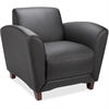 "Lorell Reception Seating Club Chair - Leather Black Seat - Four-legged Base - Black - 36"" Width x 34.5"" Depth x 31.3"" Height"