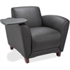 "Lorell Reception Seating Chair with Tablet - Leather Black Seat - Four-legged Base - 36"" Width x 34.5"" Depth x 31.3"" Height"