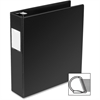 "Business Source Slanted D-Ring Binder - 2"" Binder Capacity - 3 x D-Ring Fastener(s) - 2 Internal Pocket(s) - Chipboard, Polypropylene - Black - 1 Each"