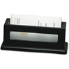 "Victor Midnight Black Business Card Holder - 1.8"" x 4.3"" x 1.6"" - Wood, Faux Leather - 1 Each - Black"