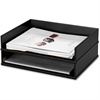 Victor Midnight Black Stacking Letter Tray - Desktop - Black - Wood, Faux Leather - 1Each