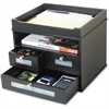 "Victor Midnight Black Tidy Tower Organizer - 10.9"" Height x 12.8"" Width x 10.6"" Depth - Desktop - Black - Wood, Faux Leather - 1Each"