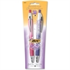 BIC For Her Fashion Ballpoint Pen - Medium Point Type - 1 mm Point Size - Point Point Style - Refillable - Black - Blue, Purple Barrel - 2 / Pack
