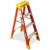 "Fiberglass Stepladders - 300 lb Load Capacity - 20"" x 48"" x 6"" - Orange"