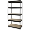 "Lorell Riveted Steel Shelving - 5 Compartment(s) - 72"" Height x 36"" Width x 18"" Depth - Recycled - Black - Steel - 1Each"