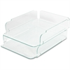 Lorell Stacking Letter Trays - Desktop - Clear, Green - Acrylic - 2 / Each