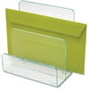 Lorell Acrylic Transp. Green Edge Mini File Sorter - Desktop - Clear, Green - Acrylic - 1Each