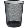 "Lorell Black Mesh Round Waste Bin - 4.70 gal Capacity - Round - 14.3"" Height x 12"" Diameter - Steel - Black"