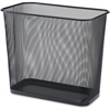 "Lorell Black Mesh Rectangular Waste Bin - 7.90 gal Capacity - Rectangular - 15"" Height x 17"" Depth - Steel - Black"