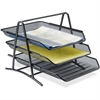 "Lorell Steel Mesh 3-Tier Mesh Desk Tray - 11"" Height x 10.8"" Width x 14.3"" Depth - Black - Steel - 1Each"