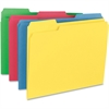 "Business Source Heavyweight Assorted Color File Folder - Letter - 8 1/2"" x 11"" Sheet Size - 1/3 Tab Cut - Assorted Position Tab Location - 14 pt. Folder Thickness - Assorted - Recycled - 50 / Box"