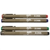 Helix Disposable Technical Drawing Pens - 0.1 mm Point Size - Black, Blue, Red, Green Water Based Ink - 4 / Pack