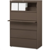 "Lorell Fortress Series 42'' Lateral File - 42"" x 18.6"" x 67.6"" - 1 x Shelf(ves) - 5 x Drawer(s) for File - Letter, Legal, A4 - Lateral - Magnetic Label Holder, Ball Bearing Slide, Ball-bearing Suspens"