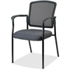 "Lorell Breathable Mesh Guest Chair - Fabric Gray Seat - Steel Black Frame - Gray - 23"" Width x 9"" Depth x 32"" Height"